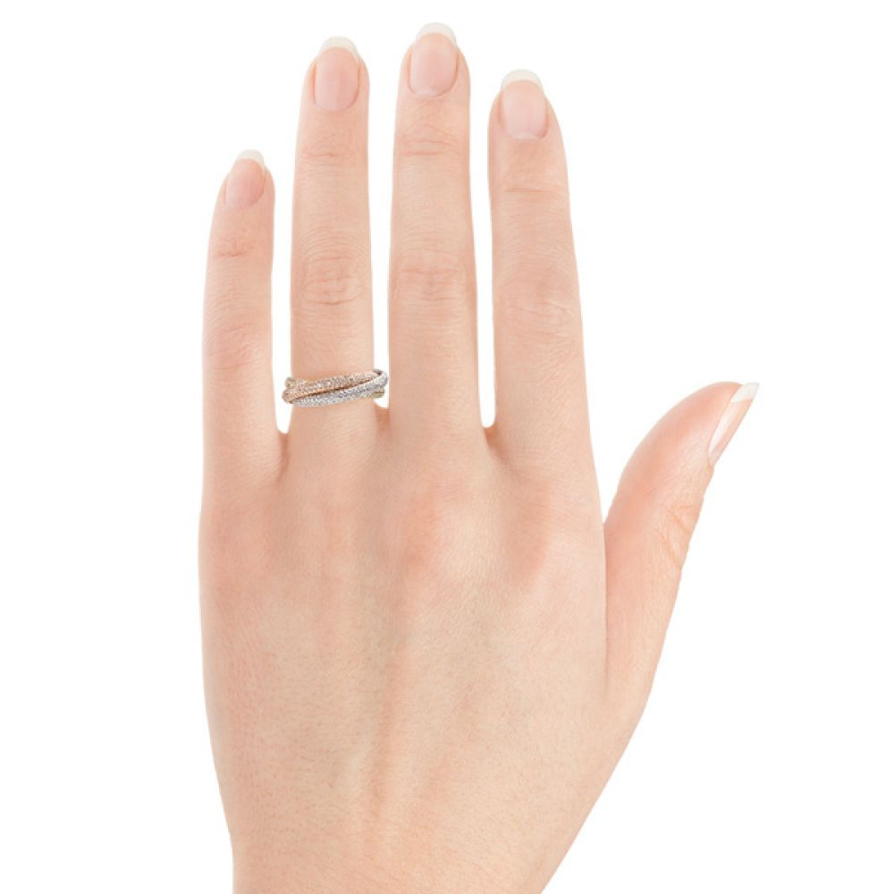 Pave russian wedding ring on hand