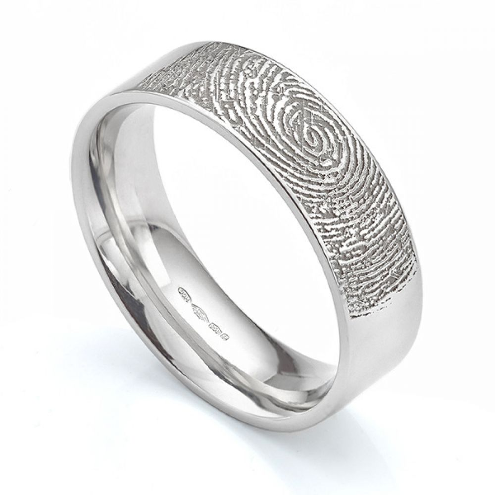 Fingerprint engraved flat court wedding ring 6mm wide