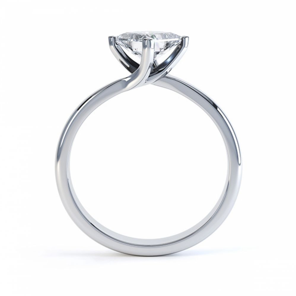 Princess Twist Engagement Ring Platinum Side View