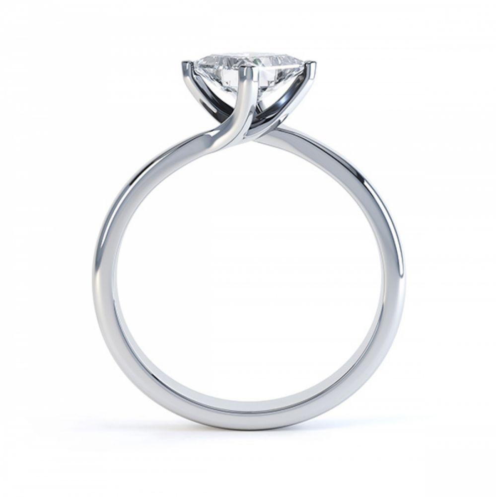 Princess Twist Engagement Ring Platinum Side View