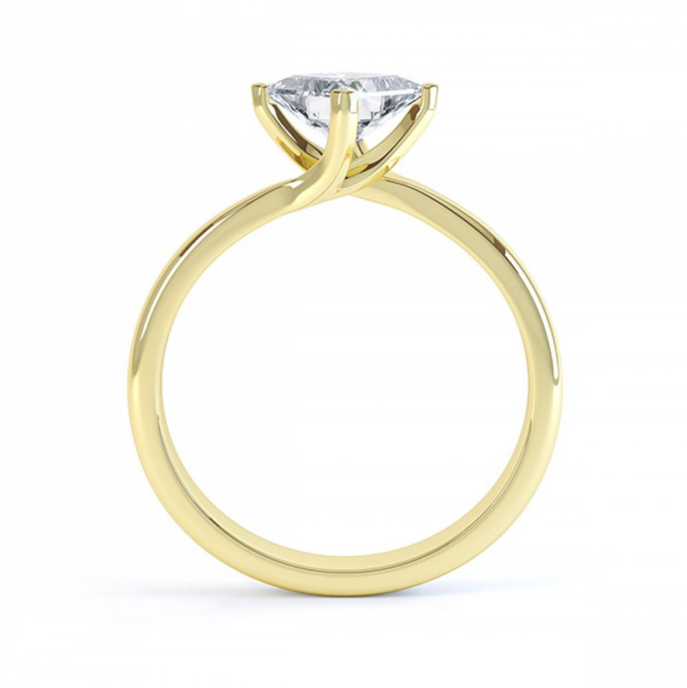 Princess Twist Engagement Ring Yellow Gold Side View