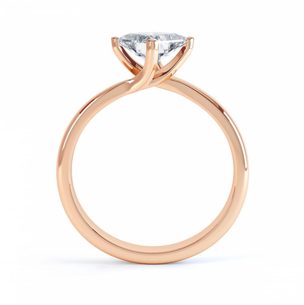 Princess Twist Engagement Ring Rose Gold Side View