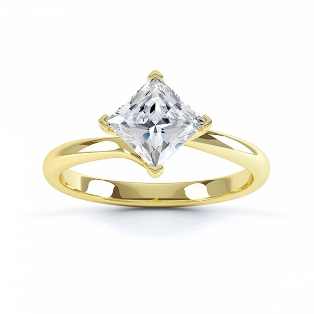 Princess Twist Engagement Ring Yellow Gold Top View