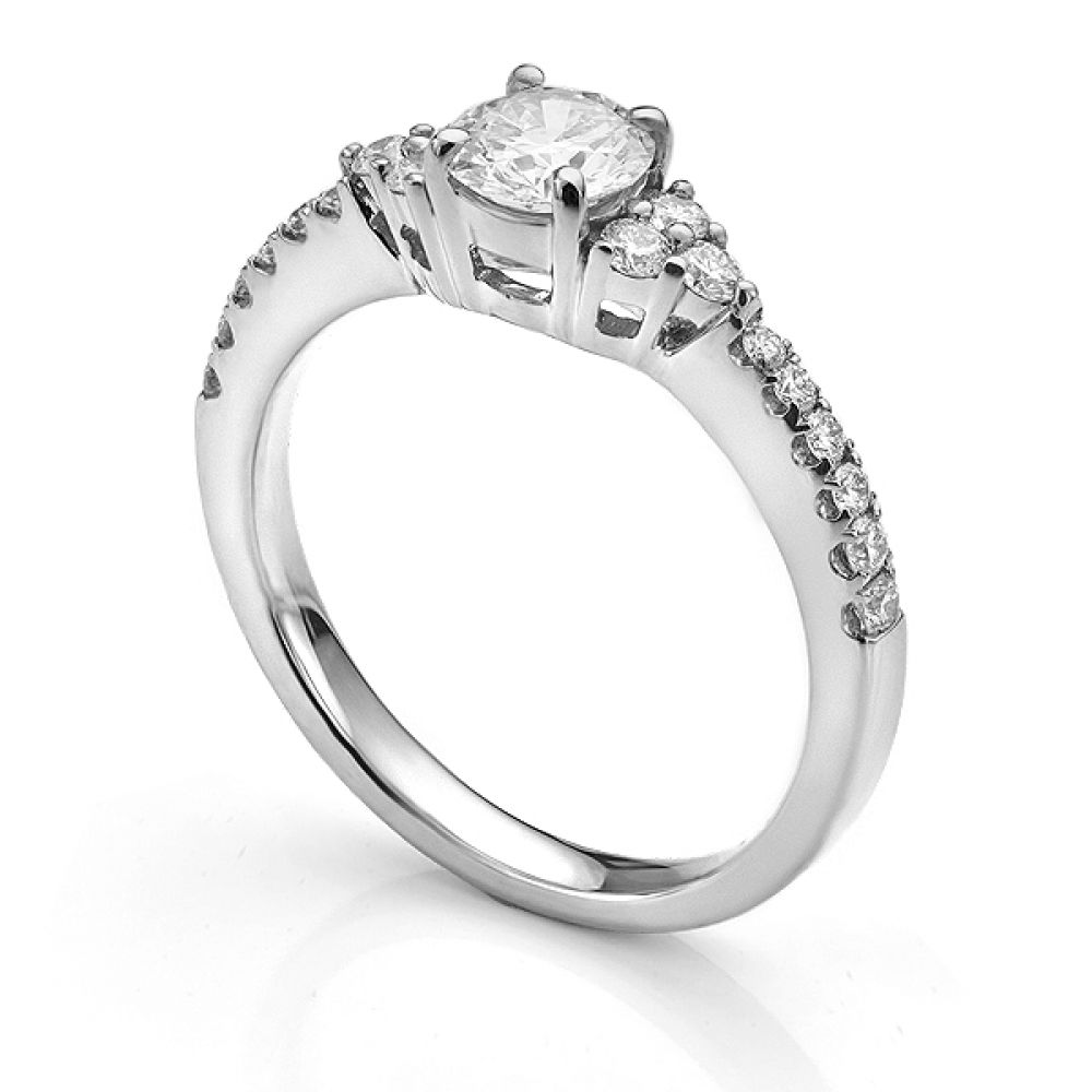 Christie diamond shoulder engagement ring in White Gold side view