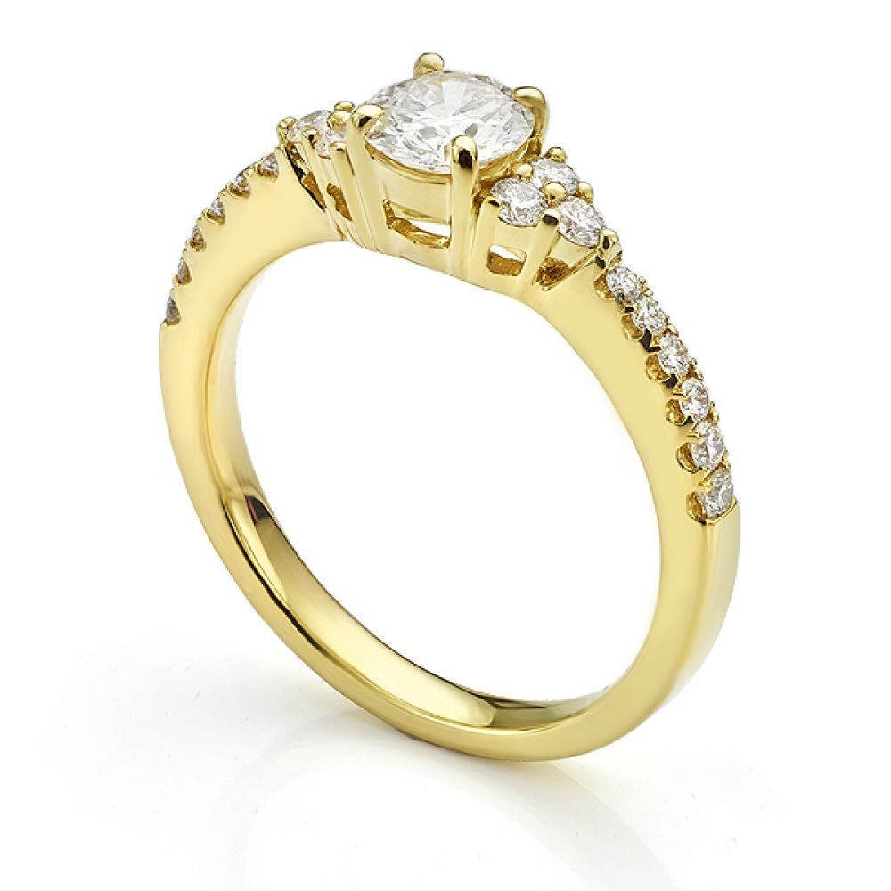 Christie diamond shoulder engagement ring in Yellow Gold side view