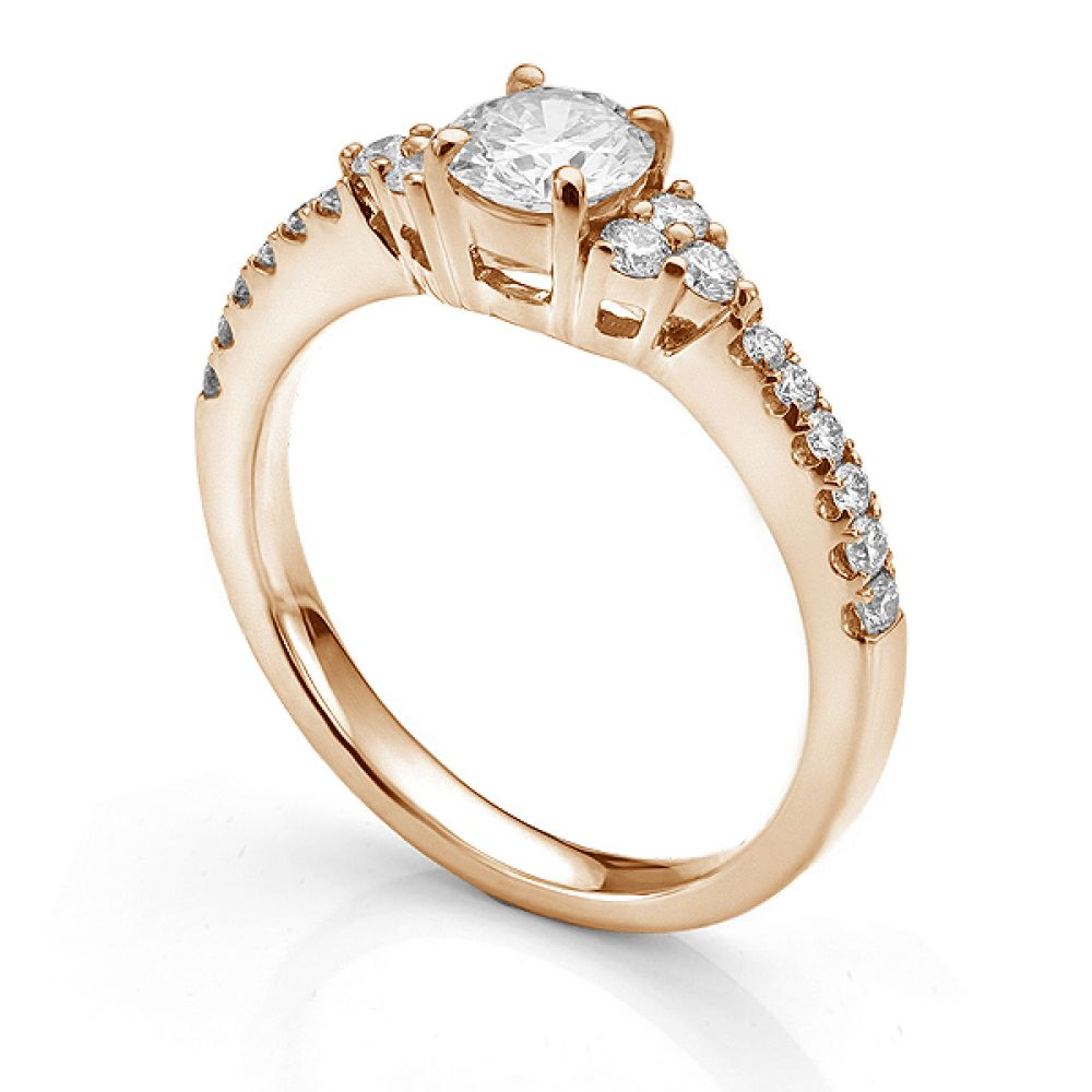 Christie diamond shoulder engagement ring in Rose Gold side view