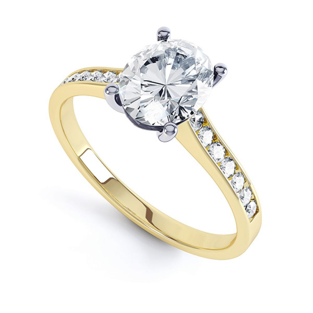 Yellow gold oval engagement ring with diamond shoulders