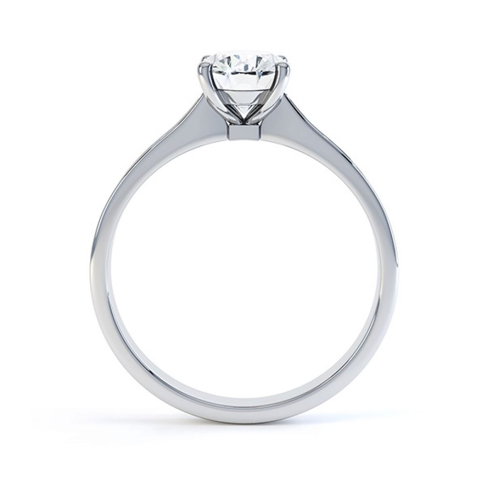 Side view of the Faith oval diamond shoulder engagement ring