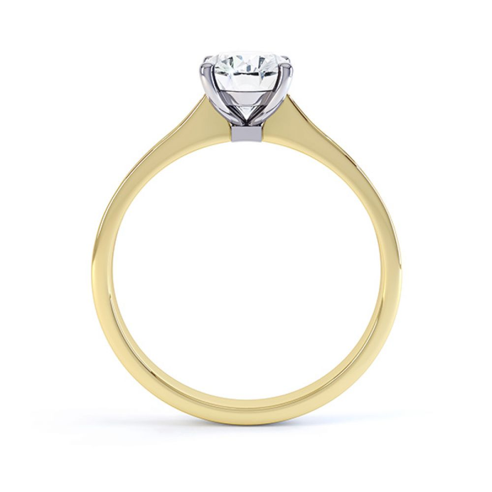 Side view of the Faith oval diamond shoulder engagement ring yellow gold