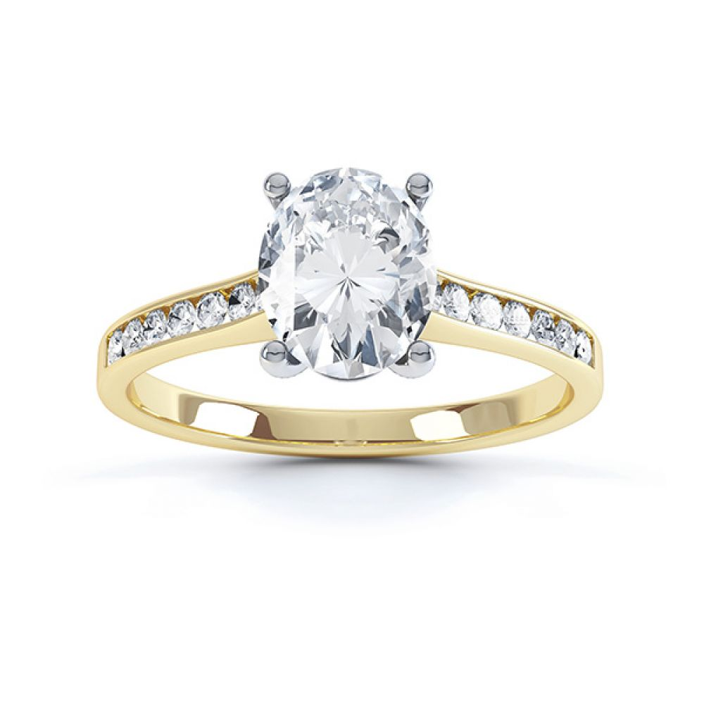 Top view of the faith oval solitaire engagement ring in Yellow Gold