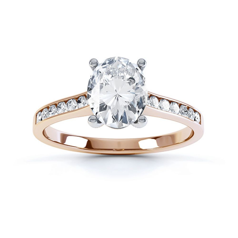 Top view of the faith oval solitaire engagement ring in Rose Gold