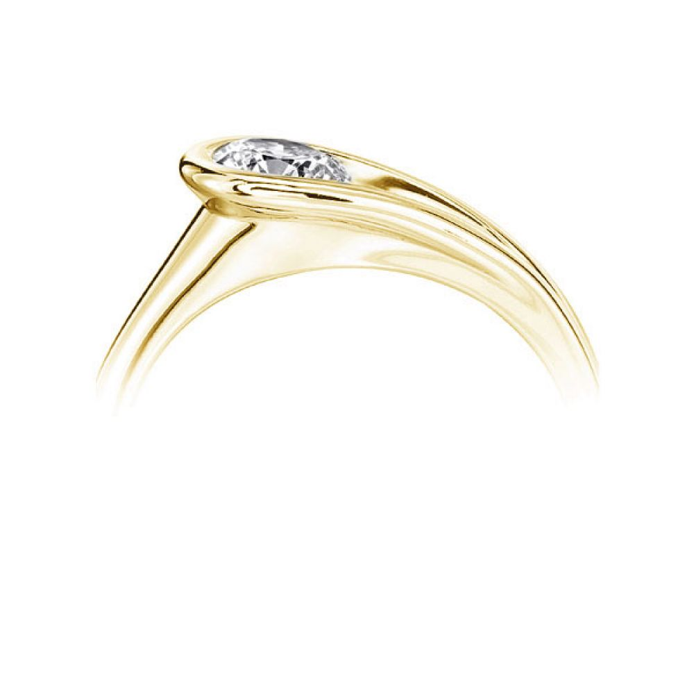 Loop Bezel Round Solitaire Engagement Ring - Yellow Side