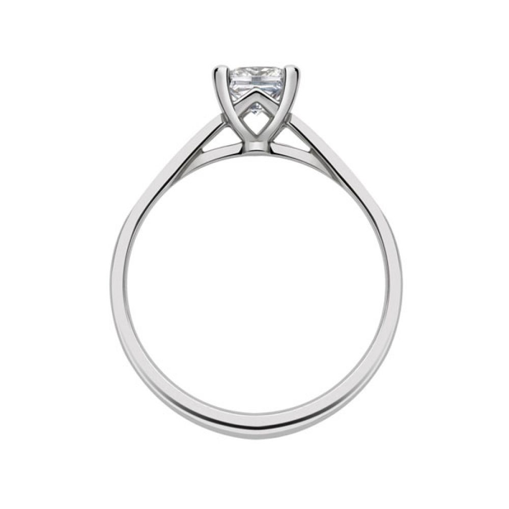 Platinum 4 Claw Princess Ring with Cathedral Setting side view - White