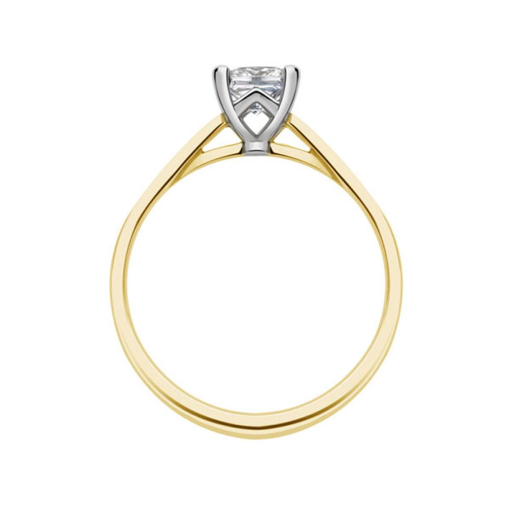 Platinum 4 Claw Princess Ring with Cathedral Setting side view - Yellow