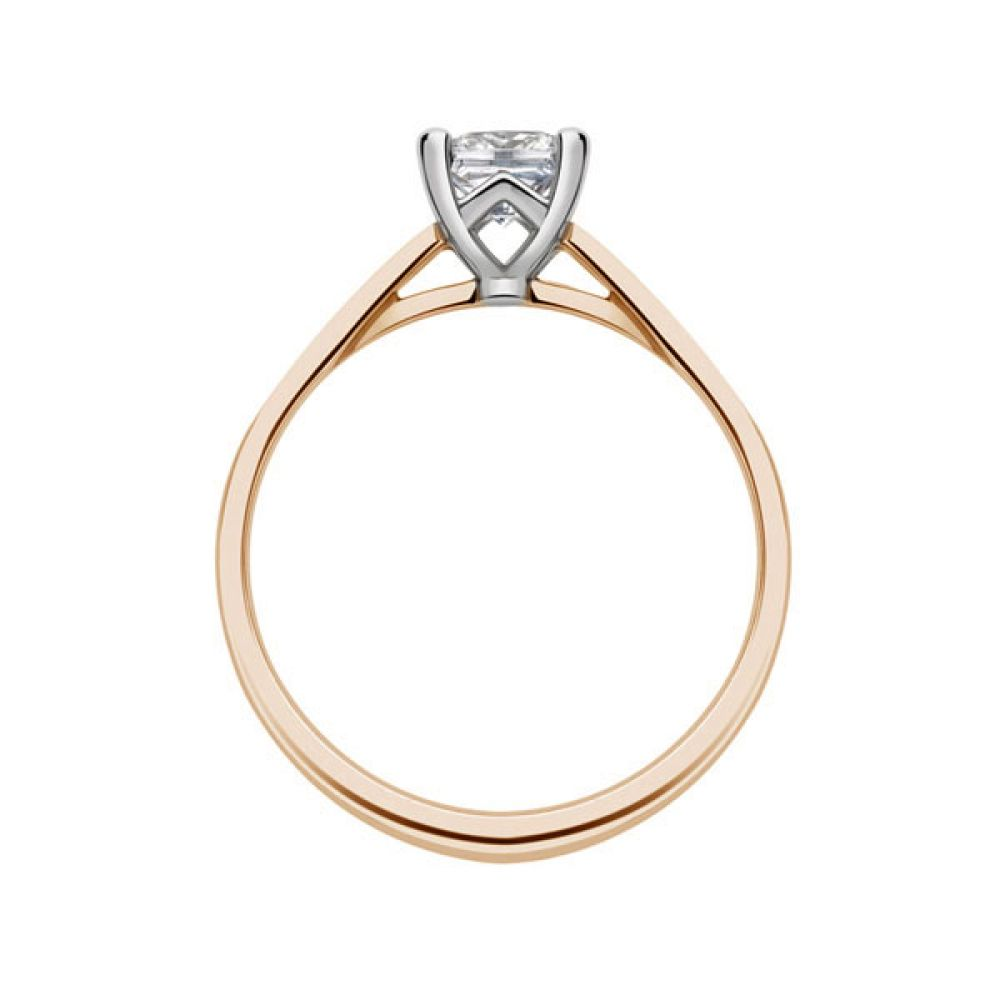 Platinum 4 Claw Princess Ring with Cathedral Setting side view - Rose