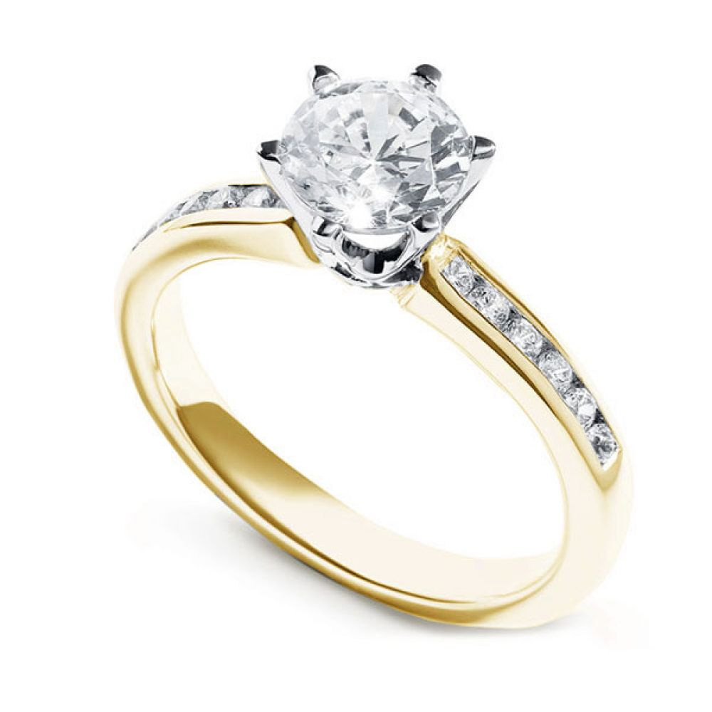 Tiffany Style 6 Claw Solitaire Ring with Diamond Shoulders Yellow