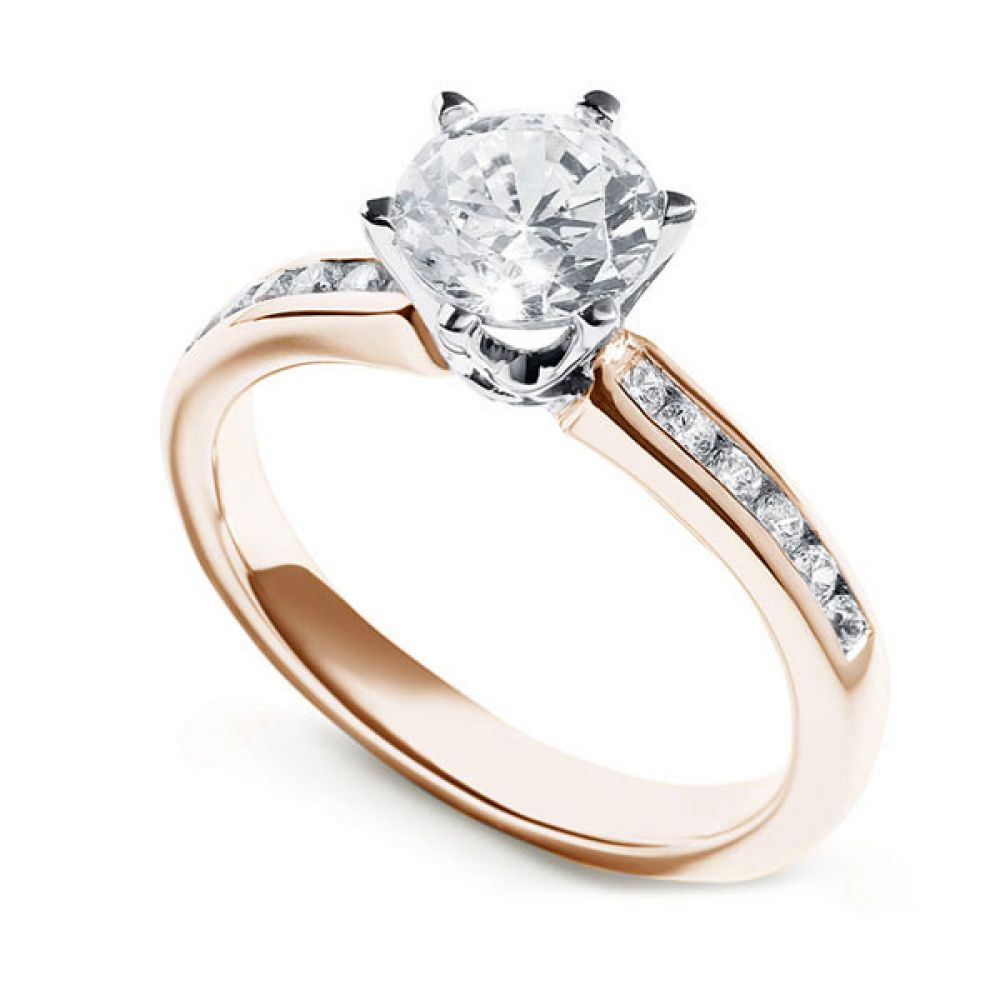 Tiffany Style 6 Claw Solitaire Ring with Diamond Shoulders Rose