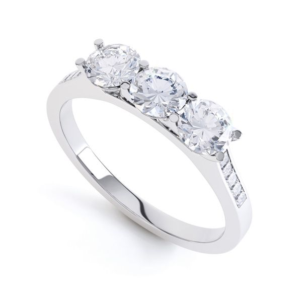 Three Stone Ring with Diamond Shoulders Main Image