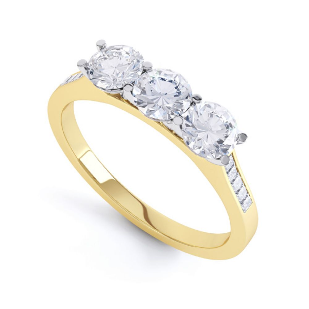 Trilogy with diamond set shoulders Perspective, Yellow