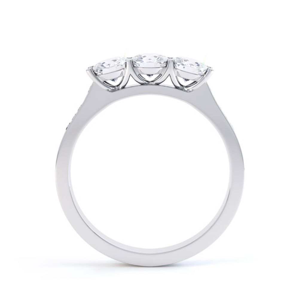 Trilogy with diamond set shoulders, Side, White