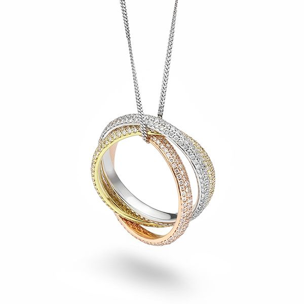 Pavé Diamond Russian Wedding Ring Pendant Main Image