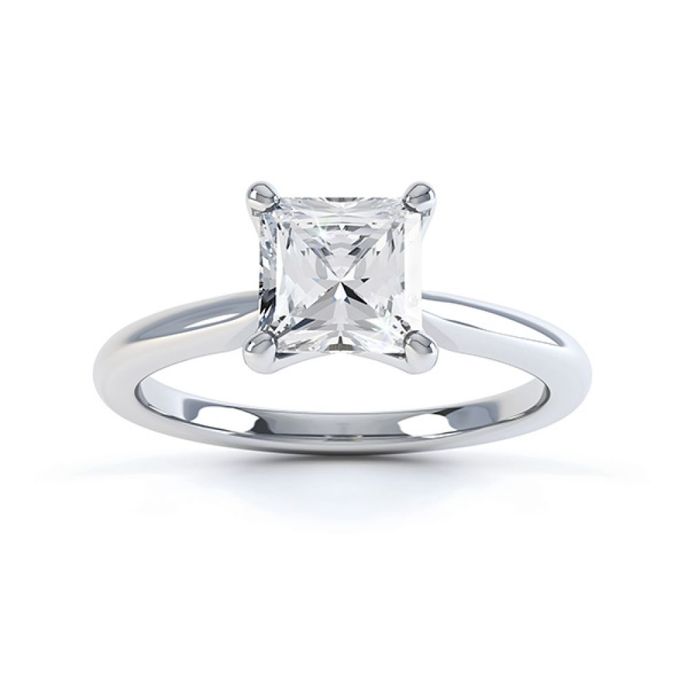 Aster diamond engagement ring top view in white gold