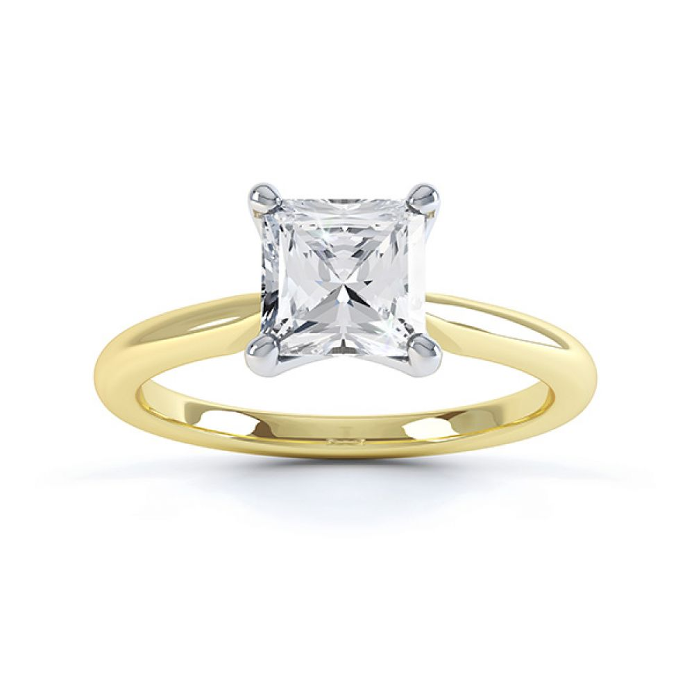 Aster diamond engagement ring top view yellow gold