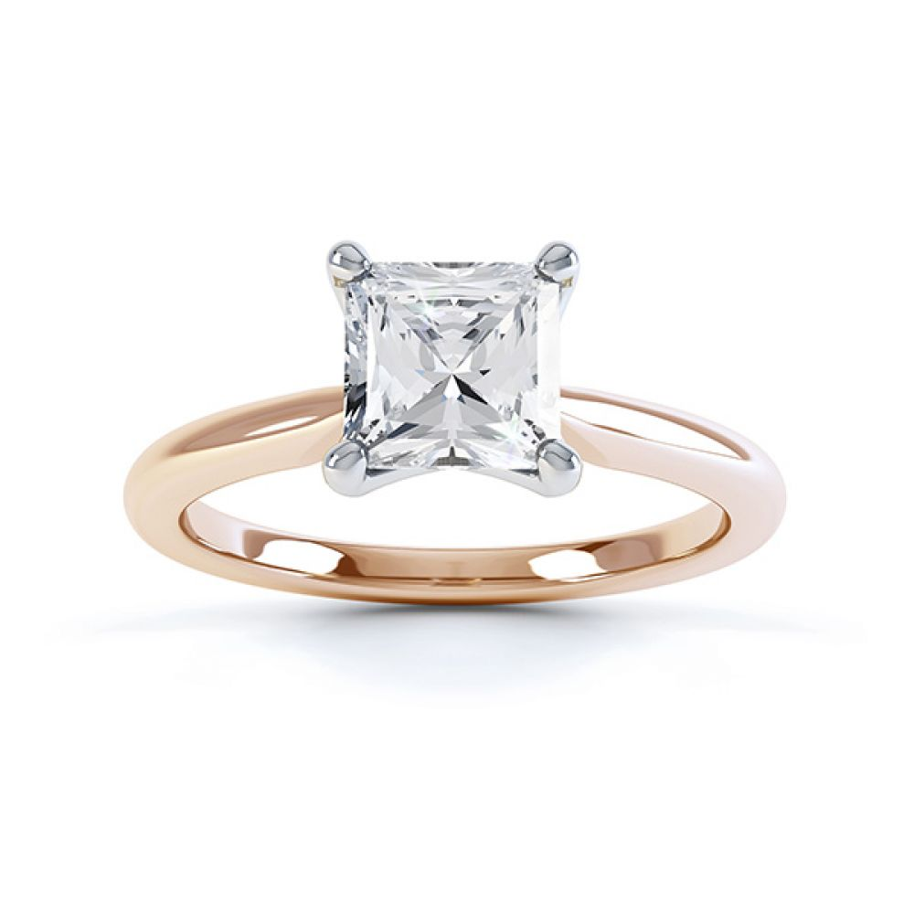 Aster diamond engagement ring top view rose gold
