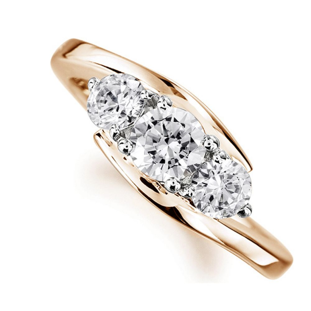 Modern 3 Stone Diamond Trilogy Style Ring Rose Gold