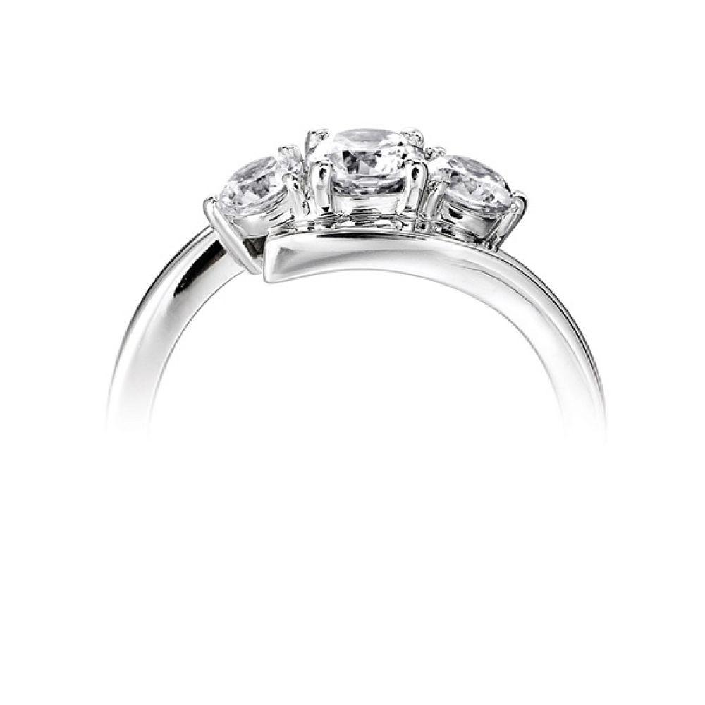 Modern 3 Stone Diamond Trilogy Style Ring Side View