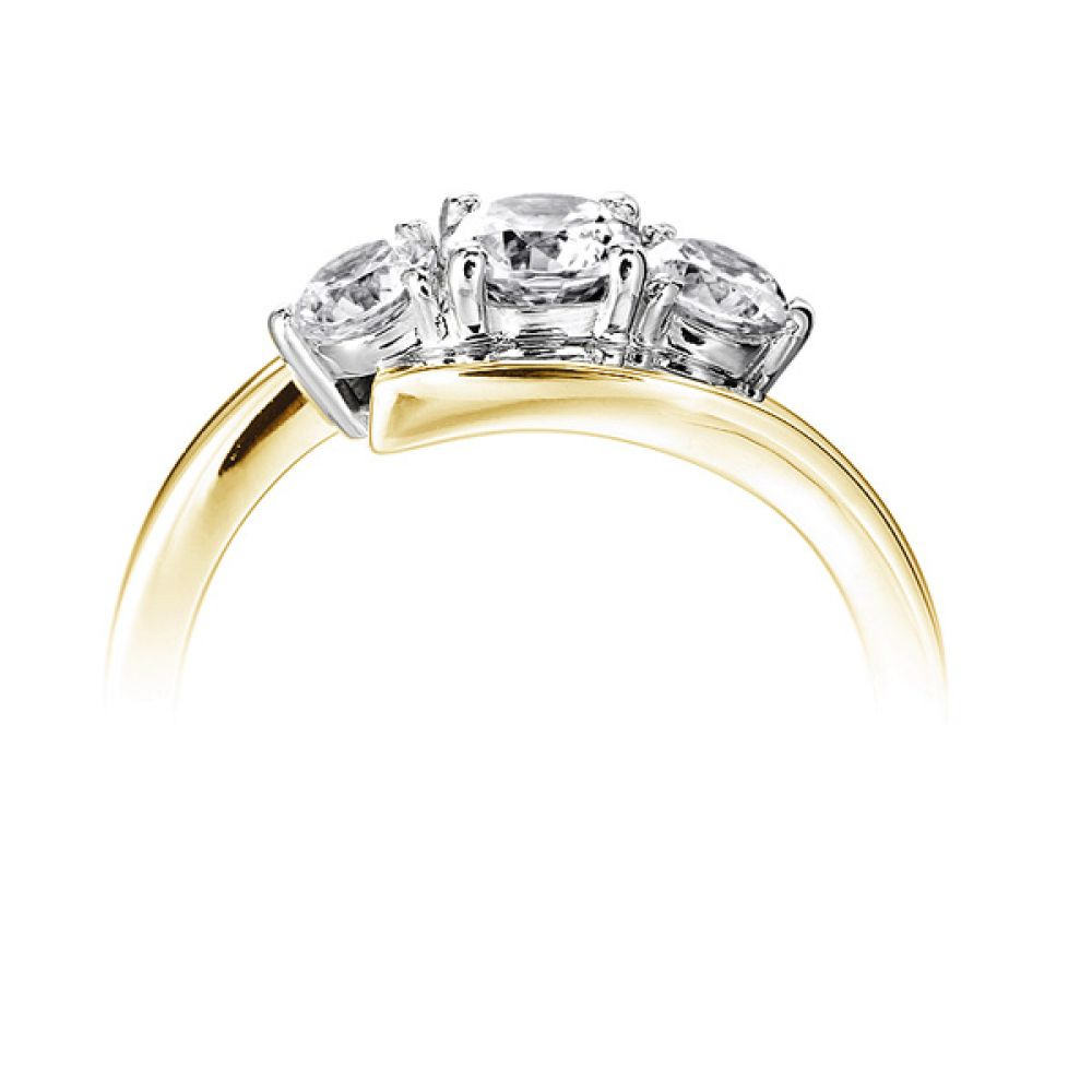 Modern 3 Stone Diamond Trilogy Style Ring Side View Yellow Gold