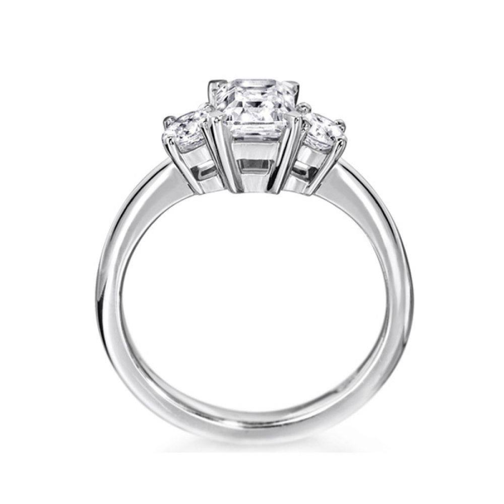 3 Stone Emerald Cut & Round Diamond Engagement Ring Side View