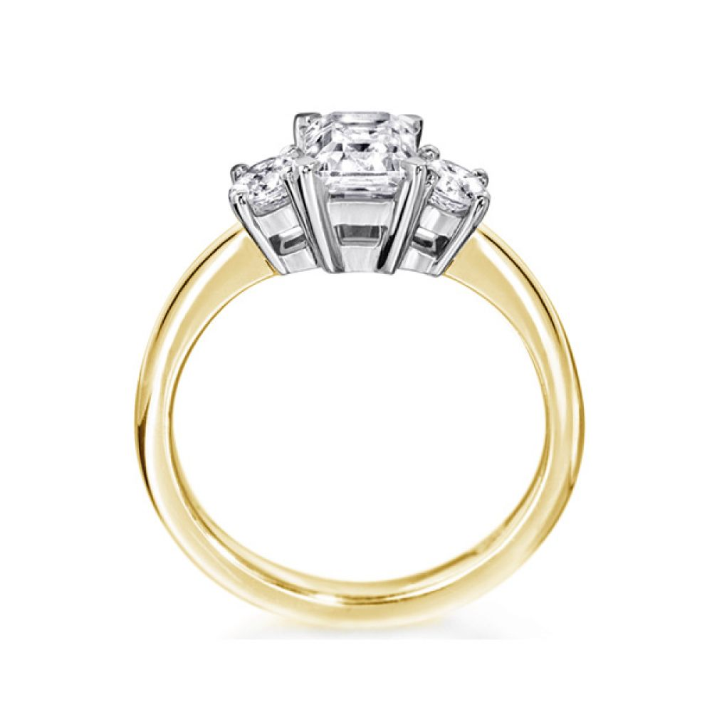 3 Stone Emerald Cut & Round Diamond Engagement Ring Side View In Yellow Gold