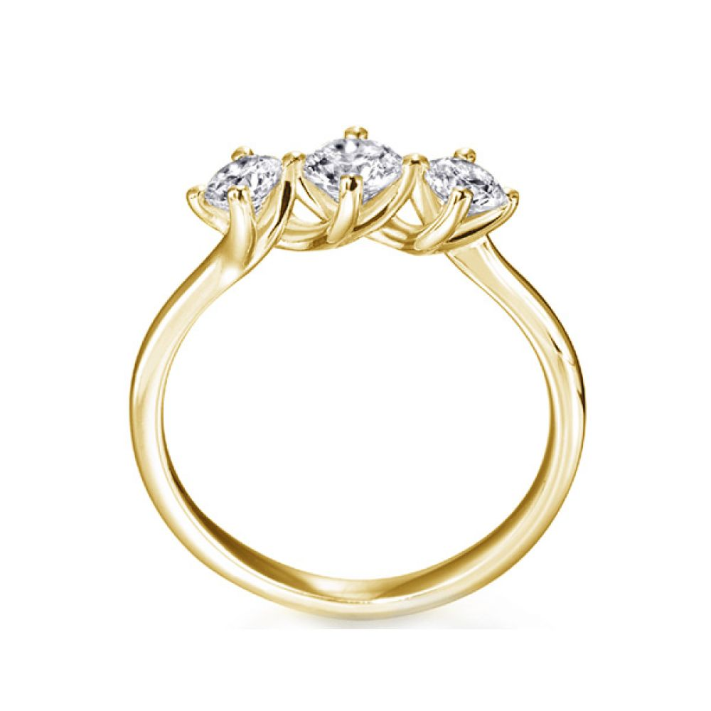 3 Stone Twist Diamond Engagement Ring Side View In Yellow Gold
