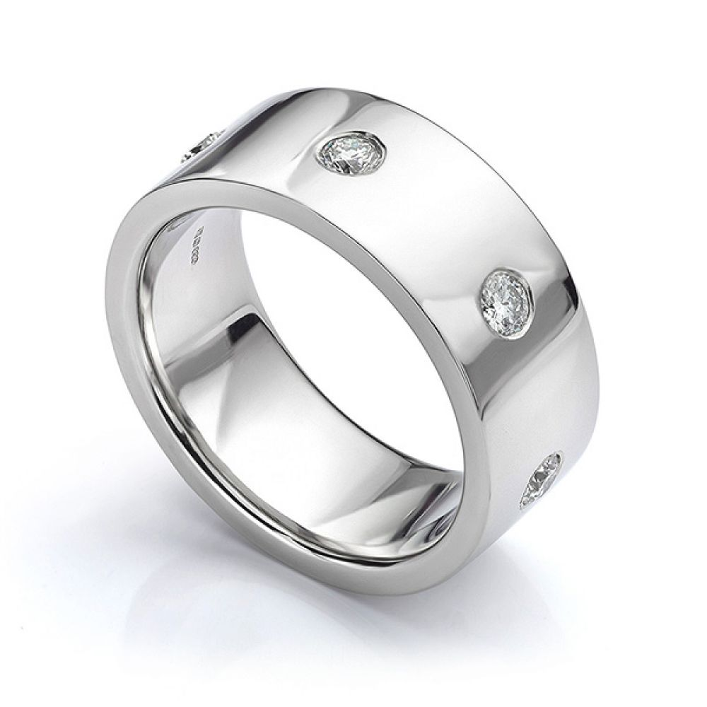 Perspective view in white gold showing mens 10mm diamond wedding ring