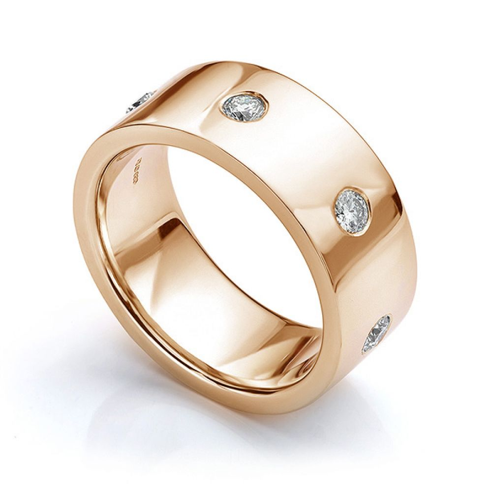 Perspective view in rose gold showing mens 10mm diamond wedding ring