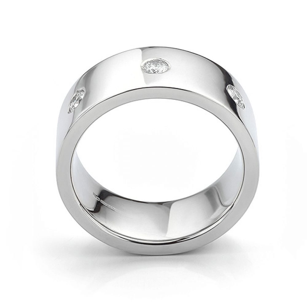 Side view in white gold showing mens 10mm diamond wedding ring
