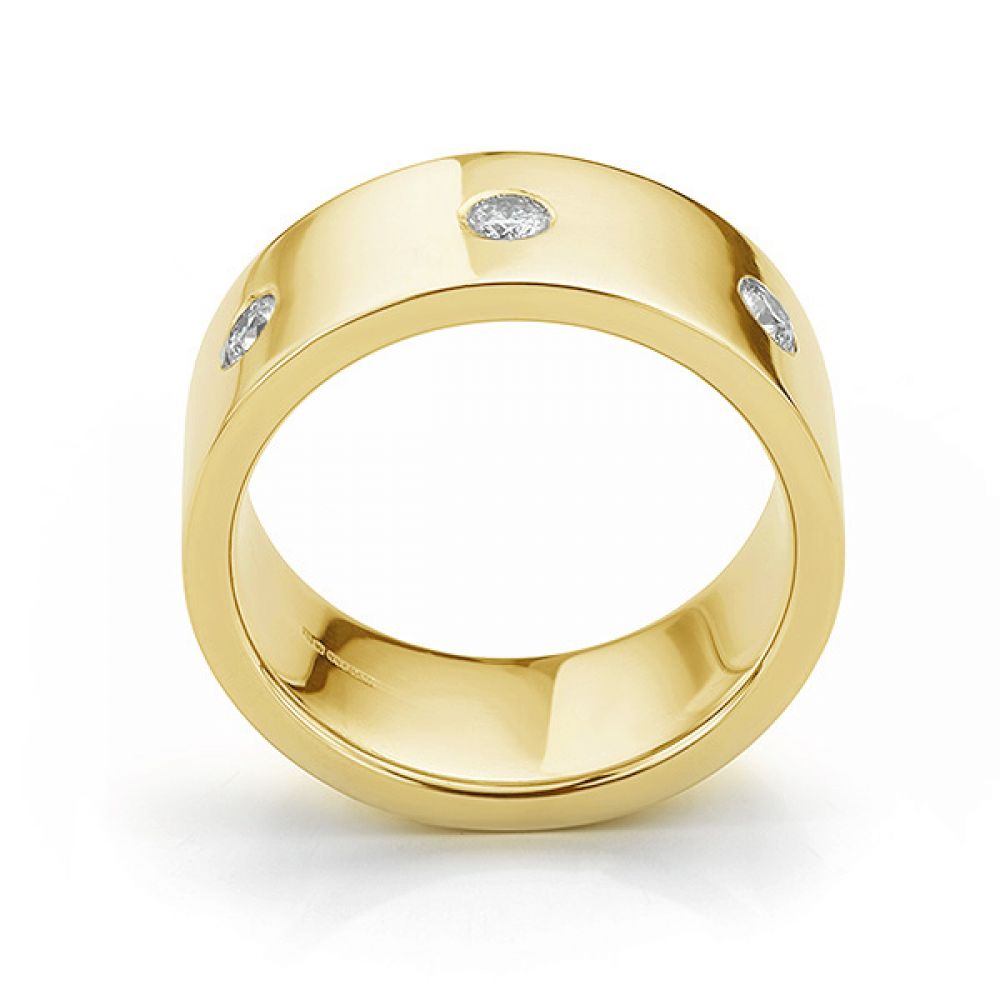 Side view in yellow gold showing mens 10mm diamond wedding ring