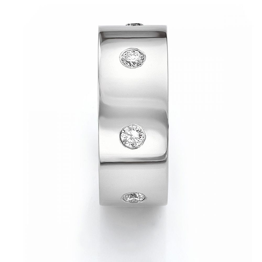 Front end view in white gold showing mens 10mm diamond wedding ring