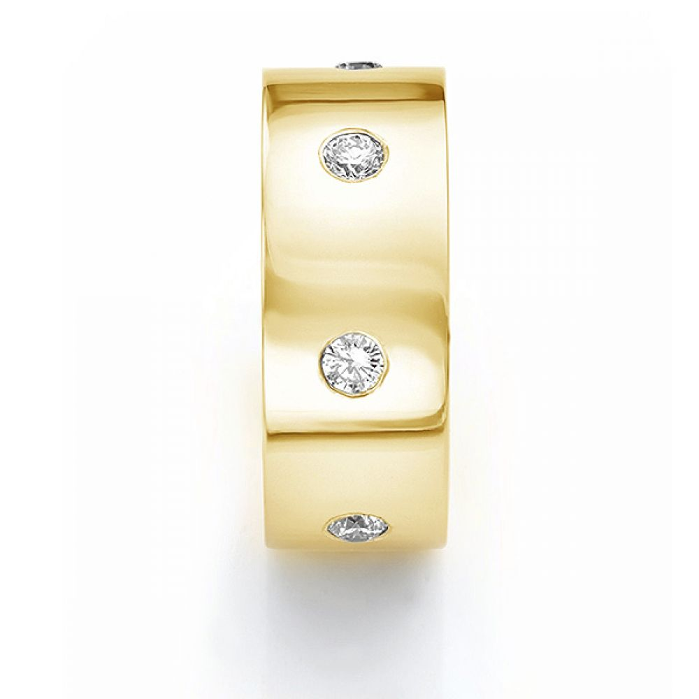 Front end view in yellow gold showing mens 10mm diamond wedding ring