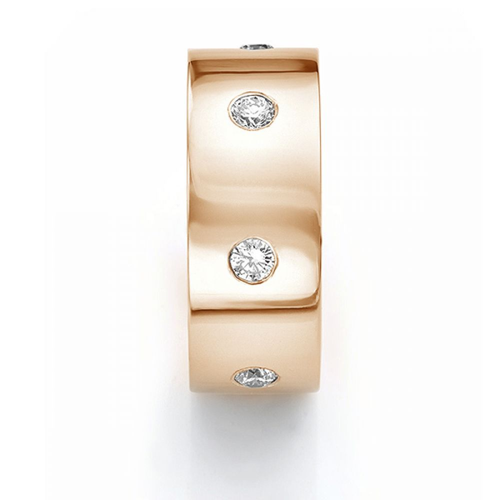 Front end view in rose gold showing mens 10mm diamond wedding ring
