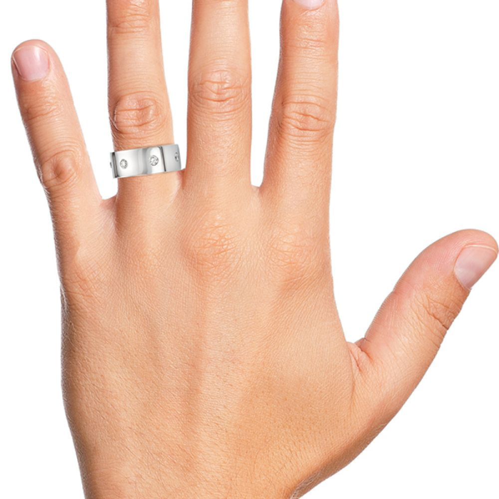 Men's 10mm diamond wedding ring shown on the finger