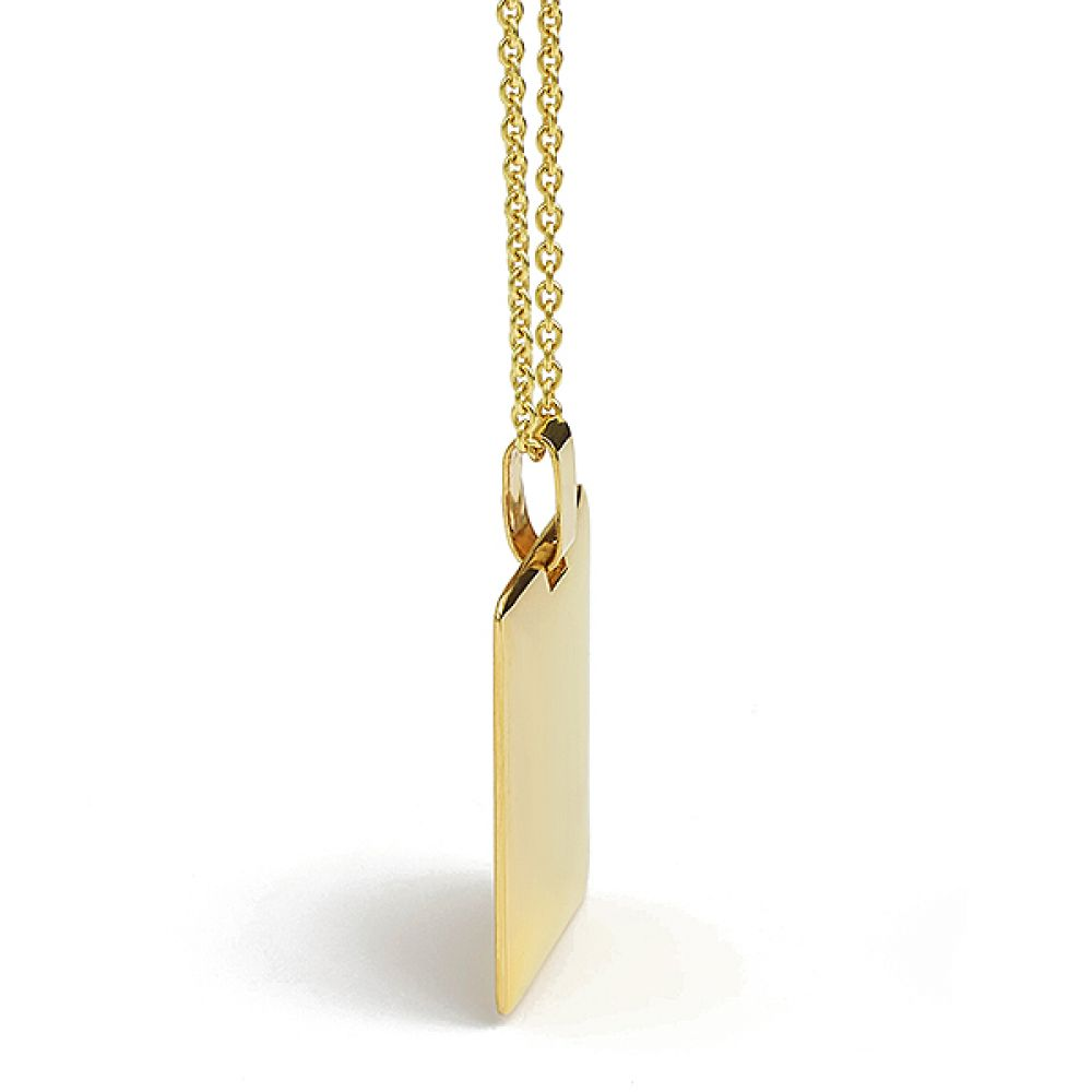 Engravable 9ct gold pendant side view