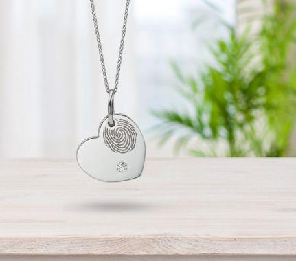 Fingerprint engraved necklace with diamond