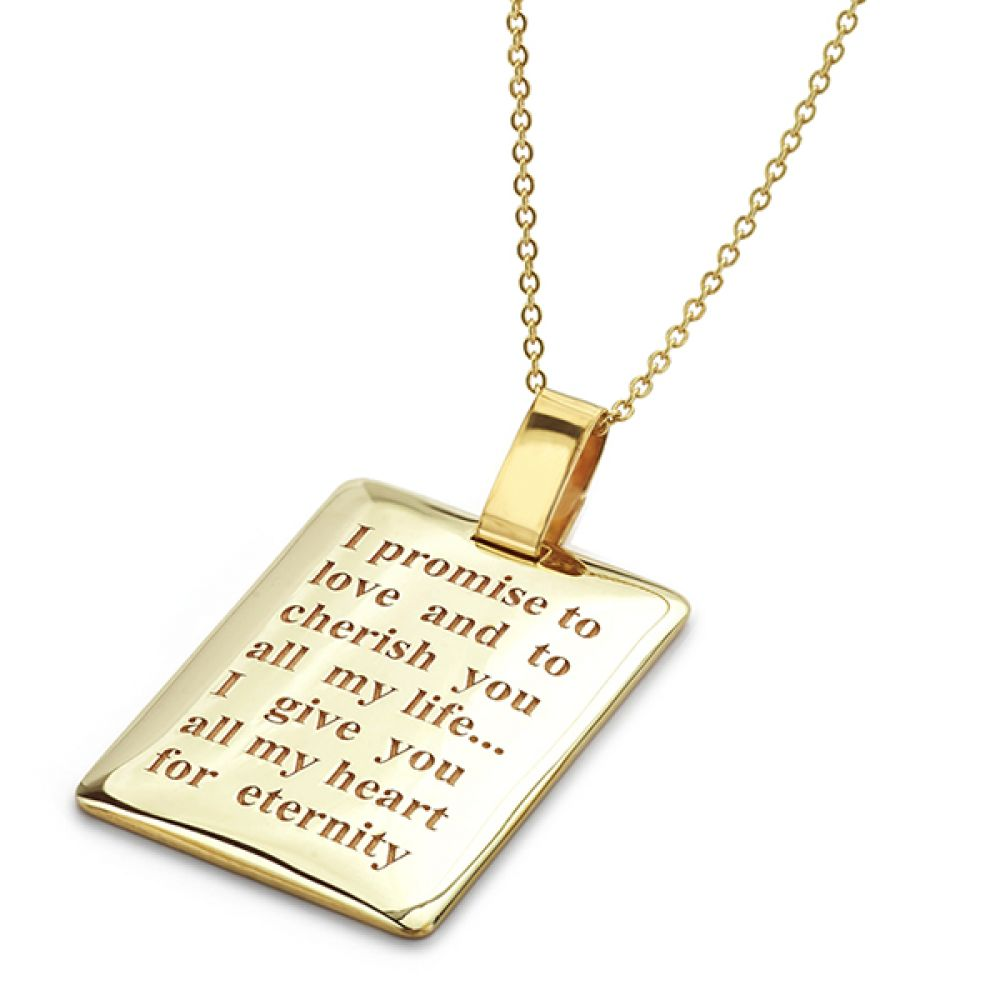 Showing the engravable pendant with personalised text added