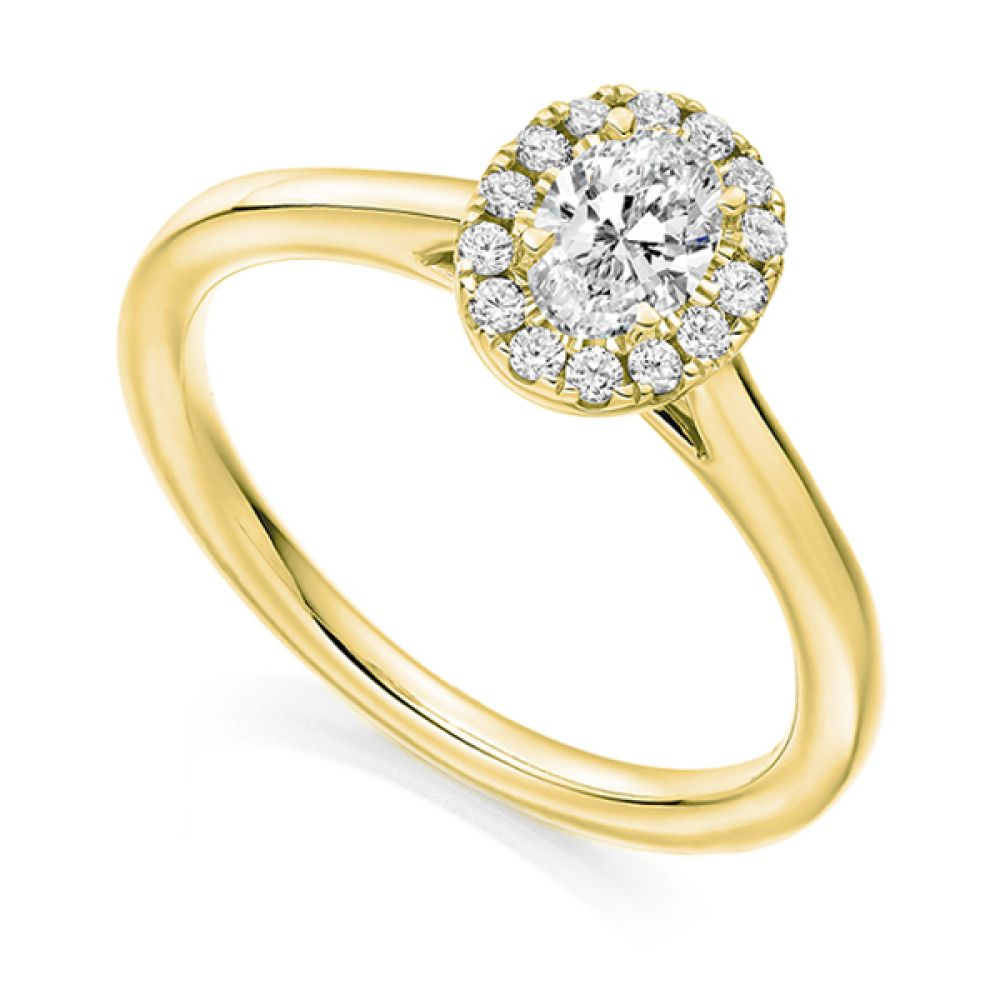 Oval Halo Engagement Ring - Yellow
