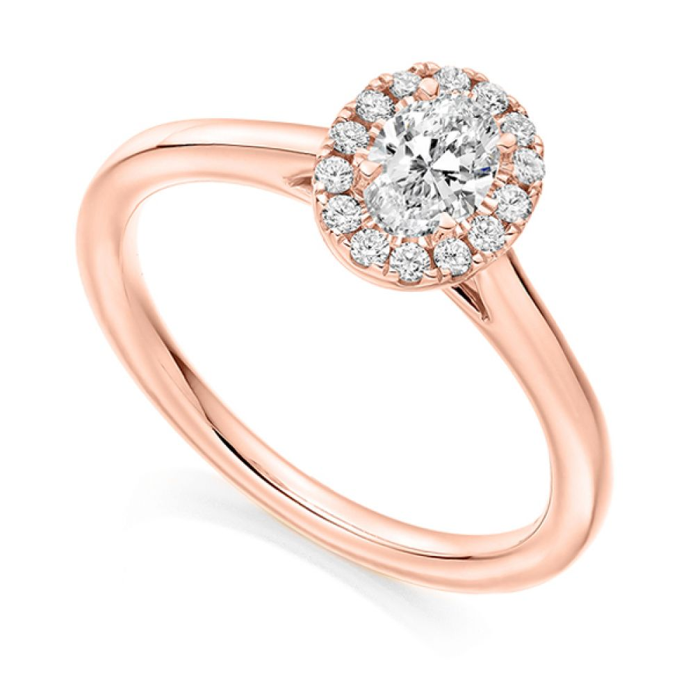 Oval Halo Engagement Ring - Rose