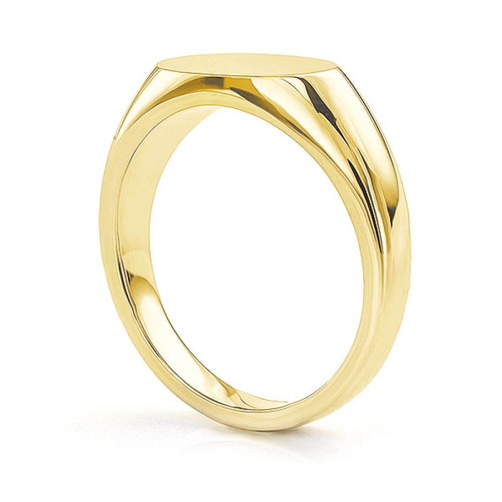 Yellow gold main view of the ladies engravable signet ring