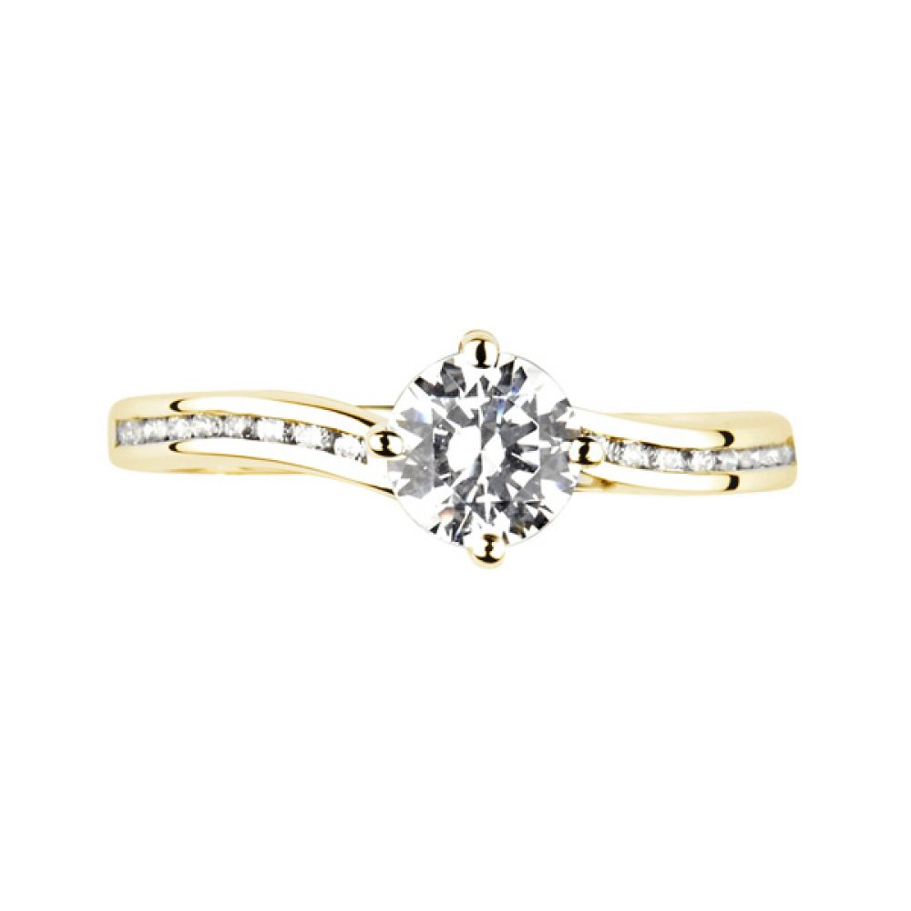 Twist Diamond Engagement Ring with Diamond Shoulders - Top