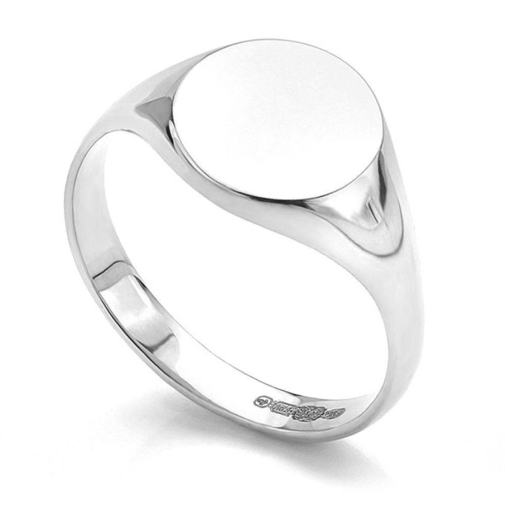 Small round engravable signet ring in white gold